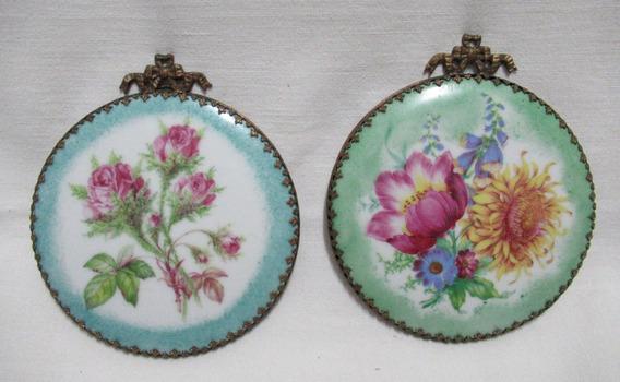 Par Miniaturas Cuadritos Porcelana Limoges Diseño Flores
