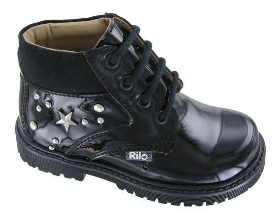 Botas Para Niña Cordones Ca5902 - Negro Charol