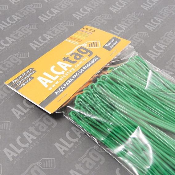Alça Tag Bagagem Silicone - 16 Cm - Cordão Verde 100 Und