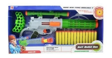 Pistola Arma Rifle 45cm Shotgun Revolver Tiro Alvo 14 Dardos