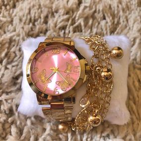 Relógio Borboletas Feminino + Pulseira