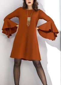 Vestido Manga Larga Naranja 1387636