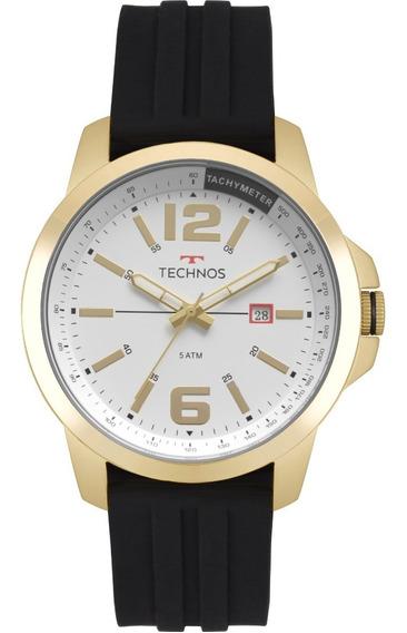 Relógio Masculino Technos Borracha Dourado Analógico 2115mro