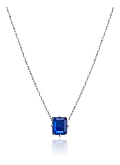 Colar Safira Blue 60cm - Ouro 18k White