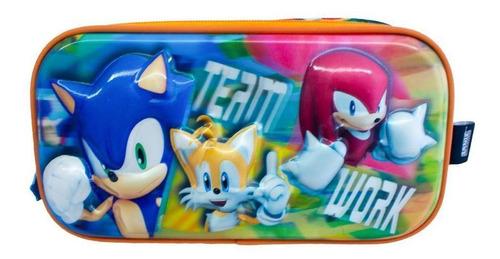 Imagen 1 de 1 de Lapicera Escolar Infantil De Sonic Doble Compartimiento