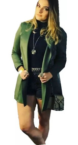 Kit10 Blazer Feminino Longo Acinturado Neoprene Casual Lindo