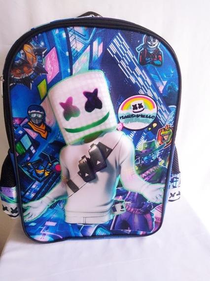 Mochila Dj Marshmello 3d Primaria Backpack+ 2 Regalos