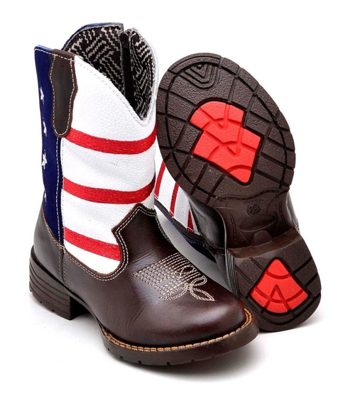 Bota Infantil Country Kids Texana Masculina Couro Legitimo