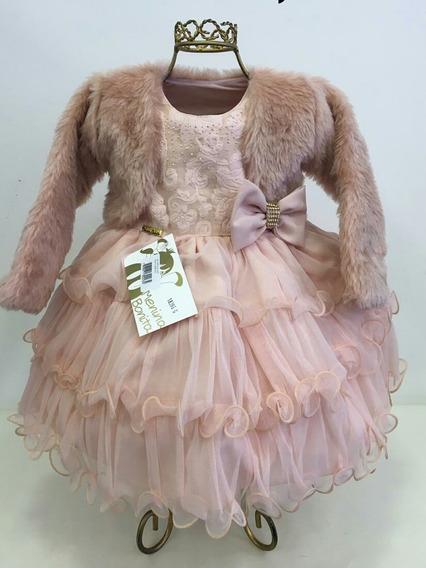 Vestido Bebê Luxo Rosa Nude + Faixa E Casaco Pelo