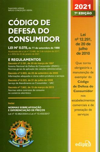 Livro Código De Defesa Do Consumidor 2021 Edipro + Placa