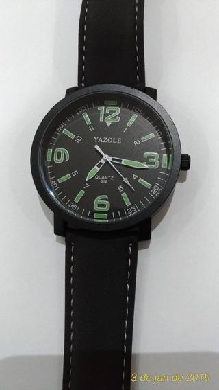 Relógio Luxo Masculino Yazole Pulso Social Pulseira Couro Lu