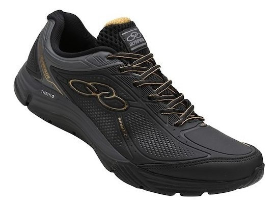 Tênis Olympikus Black Golden Running Caminhada Resistente