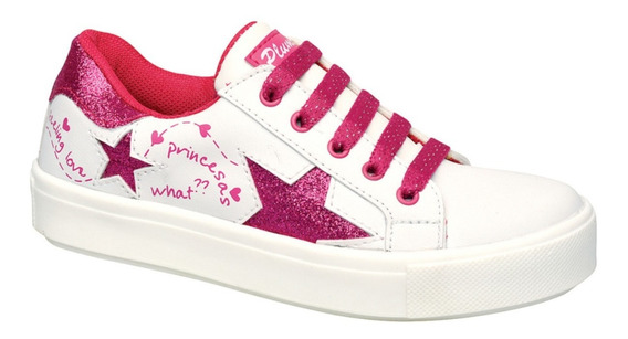 Zapatillas Plumitas Acordonado Estrellas Para Niñas Fucsia