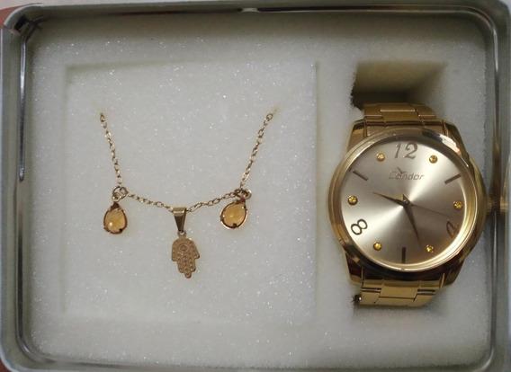 Relógio De Pulso Condor Feminino Dourado Original + Pulseira