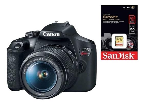 Canon Eos Rebel T7 18-55mm + Cartão 128gb Extreme