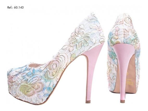 Sapato Em Renda Colorido Torricella Salto De 13 Cm - 05