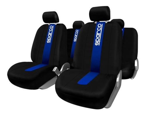 Imagen 1 de 6 de Juego Cubre Asientos Auto Logo Sparco Universales Tela Azul