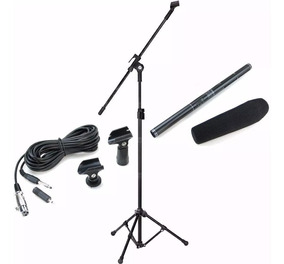 Microfone Shotgun Direcional Csr Ht81 + Pedestal Top