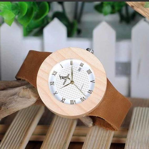Relógio Feminino Bambu Madeira Bobo Bird Calendar Co6 Lindo