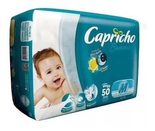 Fralda Capricho Bummis M 50 Un 4 Pacotes = 200 Fraldas