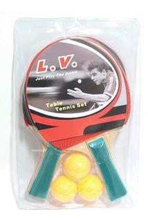Paletas Ping Pong L.v. X2 + 3 Pelotitas Set