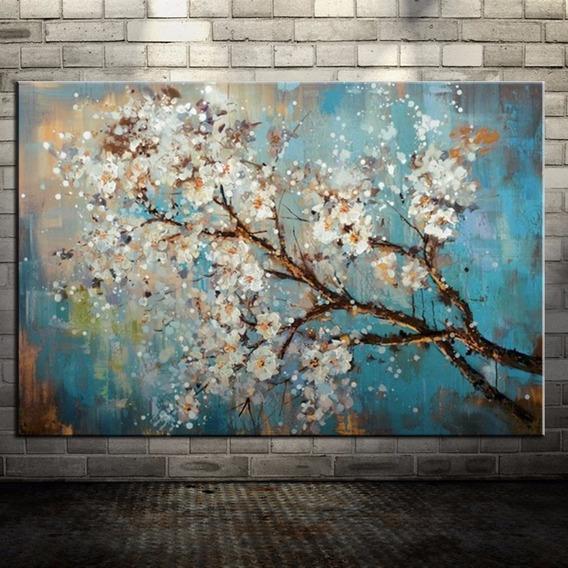 Quadro Pintura Abstrato Flores Pronto P/ Pendurar