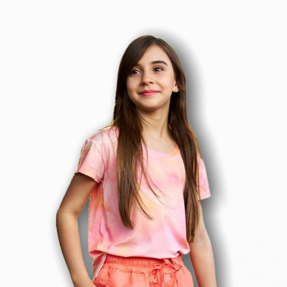 Camiseta Tie Dye Rose Teen Juvenil Blogueira Moda Salmão