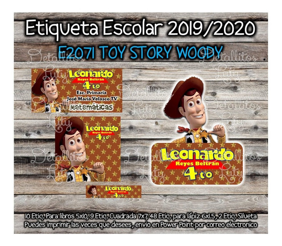 Kit Imprimible Etiqueta Escolar E2071 Woody Toy Story 4