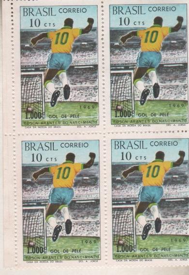 4 Estampillas De Futbol ** Gol 1000 De Pele ** Brasil - Mint
