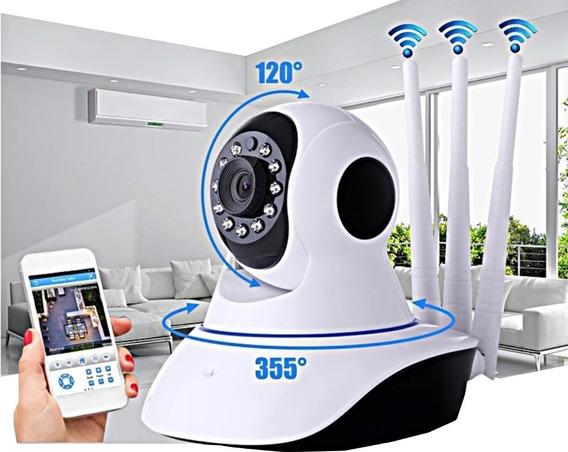 Câmera Ip Robô Wifi Hd Anatel Para Monitoramento Babá Eletrônica Com Sensor De Movimento 3 Antenas Selo Anatel Brasil