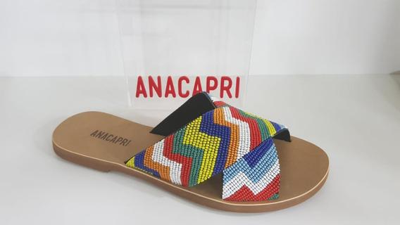 Sandália Salto Rasteiro Tecido Camurça Multicolor -ana Capri