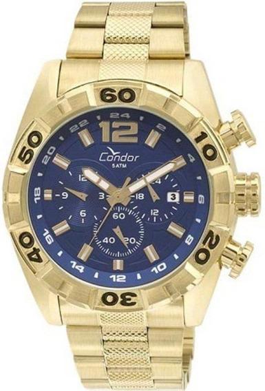 Relógio Condor Masculino Cronógrafo Dourado/azul Covd33aa/4a