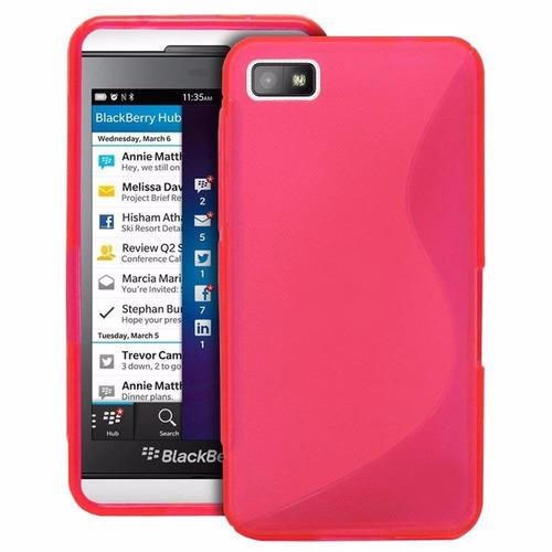Capa Case Silicone Rosa Tpu Blackberry Z10 Pelicula Plastico