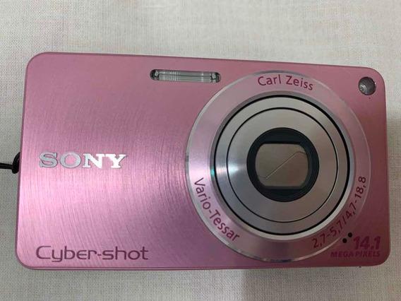 Câmera Digital Foto Sony Dscw350 Rosa Cybershot Completa