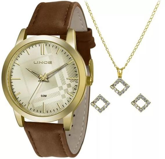 Relógio Feminino Kit Lince Colar + Brincos - Lrc4397l