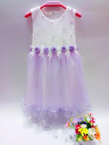 Vestido Importado De Nena Con Tull Para Fiesta Cumpleaño Eventos Fotografia Talle 4 A 8
