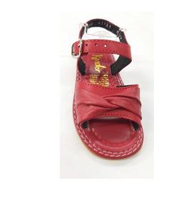 Huaraches Piel Marca Kinder Para Niña 6612 Rojo 12 Al 14