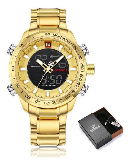 Relógio Masculino Naviforce Nf9093 Analógico Digital Anadigi Original Com Caixa