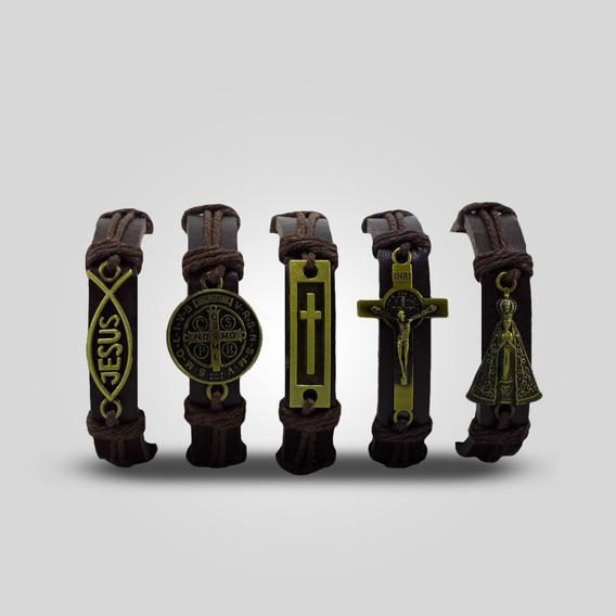 Pulseiras Religiosas Bracelete Couro - 5 Unidades