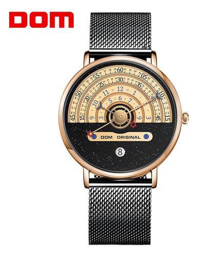 Dom Reloj De Pulsera De Acero Inoxidable Con Fecha Analógica