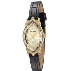 Relógio Feminino Dourado Oval Pulseira De Couro Com Pedras