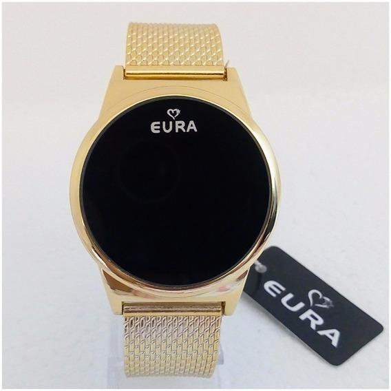 Relógio Feminino Eura Led Dourado Touch Screen Super Vip Pulseira Silicone