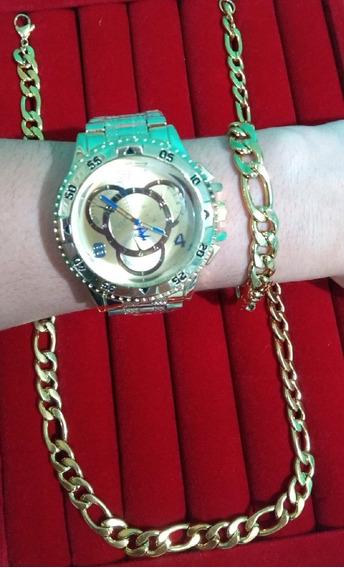 Corrente ,relógio E Pulseira Aço Inoxidável Folheado A Ouro