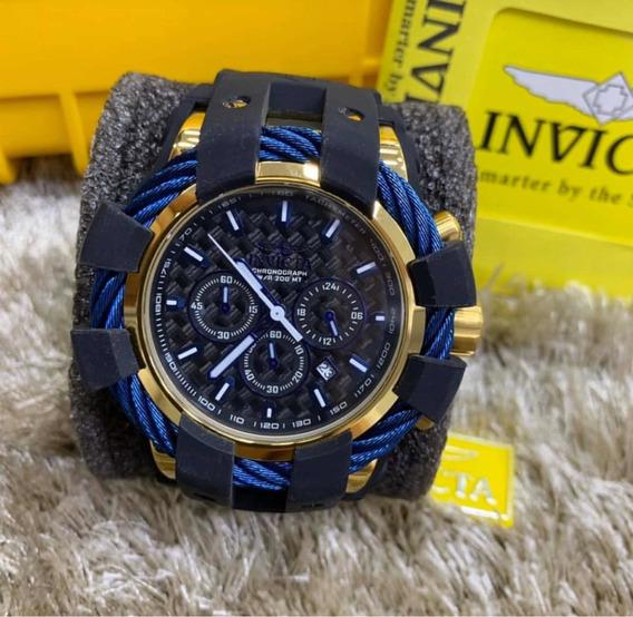 Relogio Invicta Bolt Sport Dourado E Azul + Caixa Original