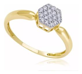 Anel Chuveiro Hexagonal Ouro 18k,750 Com Diamantes Naturais
