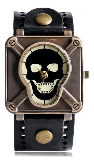Relógio Caveira Pulseira De Couro