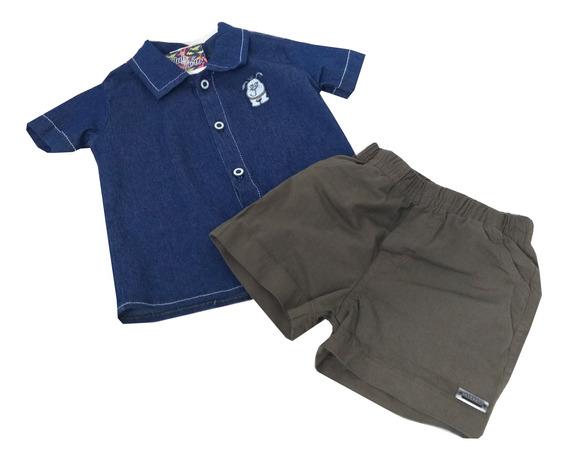 Conjunto Menino Mocinho Camisa Jeans Mais Bermuda Sarja Clube Zero Bebê