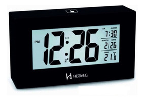 Relógio 2972 Despertador Digital Preto Luz Led Sensor Herweg