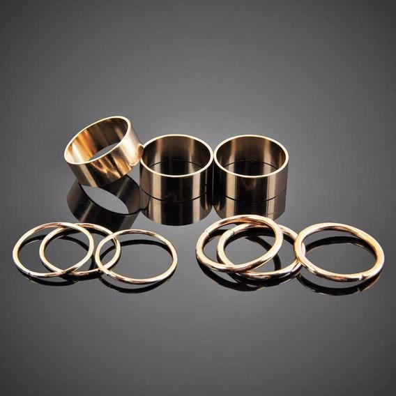 Kit 9 Anéis Moderno Luxo Slim Manicure Dourado Chic Elegante