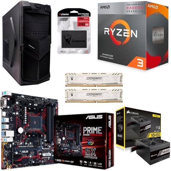 Pc 3521 Ryzen 3200g B450m Gaming Bl 2x 4gb Ssd 240gb Vs450